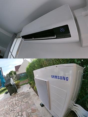 photo d'un climatiseur samsung blanc accroché au mur avec son moteur en bas