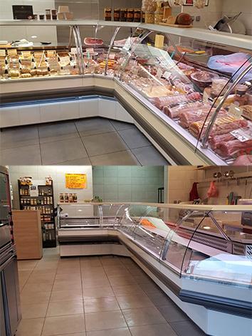 photo de deux vitrines classiques de viandes chez des boucheries installées par safc