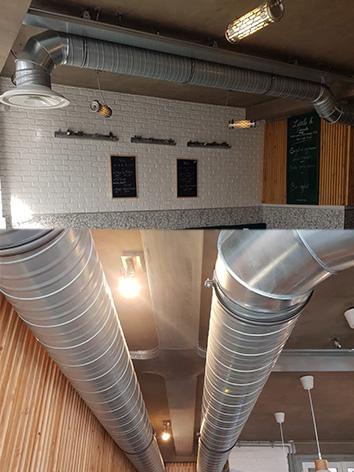 photo de gaine d'une clim gainable d'un restaurant qui s'appelle little b